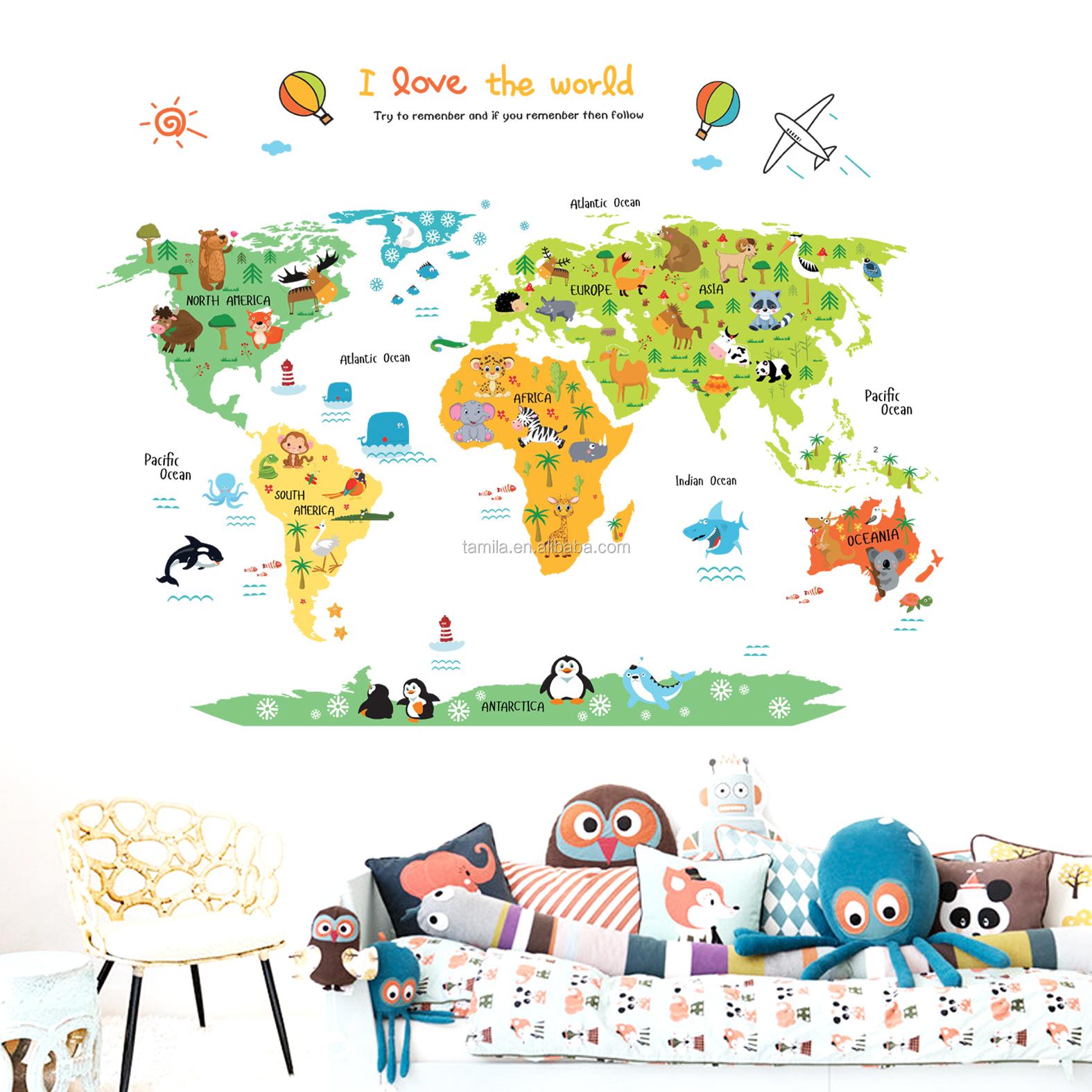 Dessin D Une Chambre D Enfant autocollant mural animaux dessin animé autocollant carte du monde décoratif  pour chambre d'enfant - buy autocollants 3d de décoration de chambre