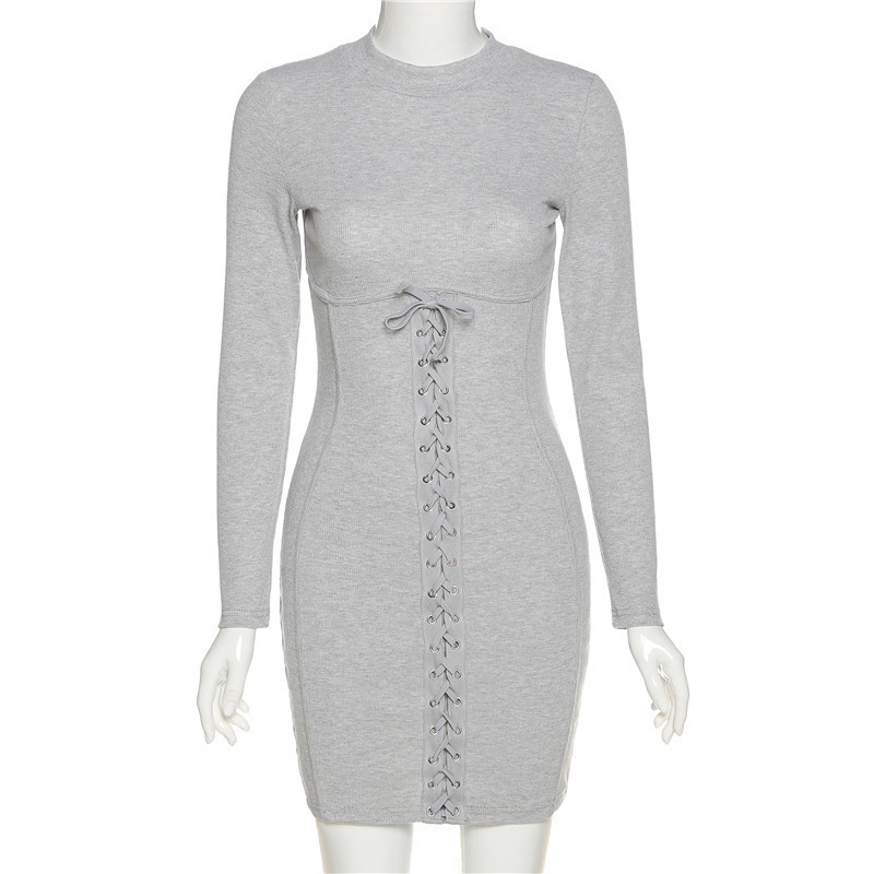 Ribbed Bow Bandage Drawstring Women Dress Autumn Winter Turtleneck Full Sleeve Bodycon Streetwear Stretchy Casual Dresses