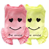 Smiley face home Jumpsuit Design Summer smiley face printing pet dog wholesale pet smiley face Jumpsuit clothing