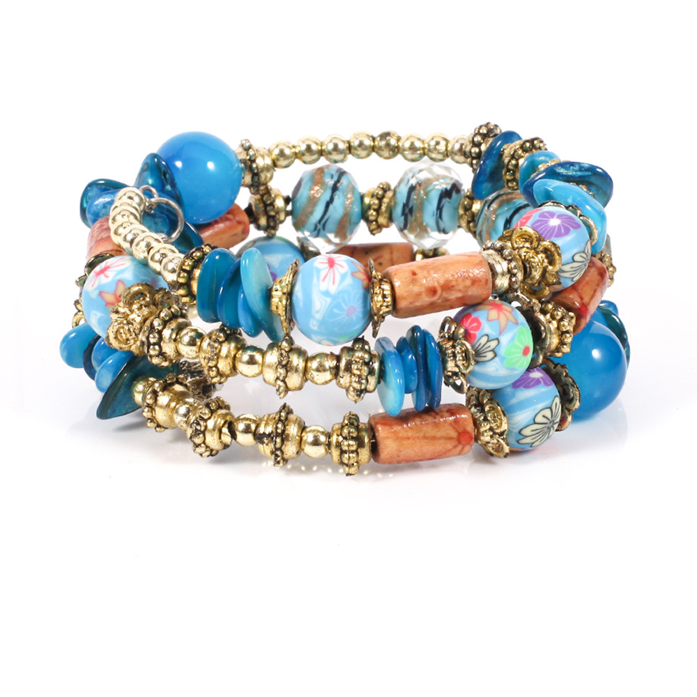 New Bohemian Beads Glazed Printed Bracelet
