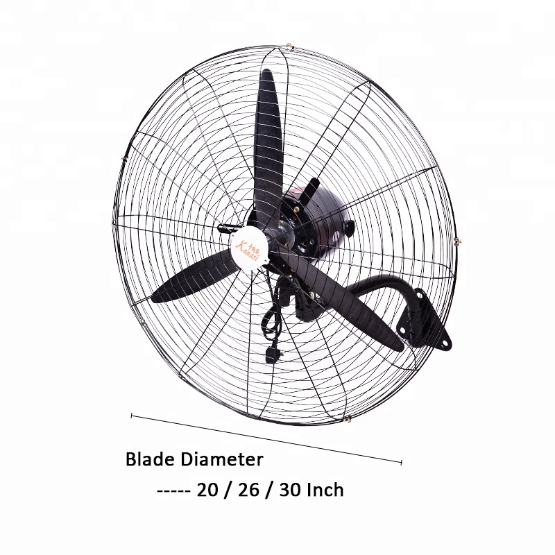 Kanasi 20 26 30 Inch Industrial oscillating copper motor 3 speed all metal Hanging cooling best price Wall mounted Fan with CE