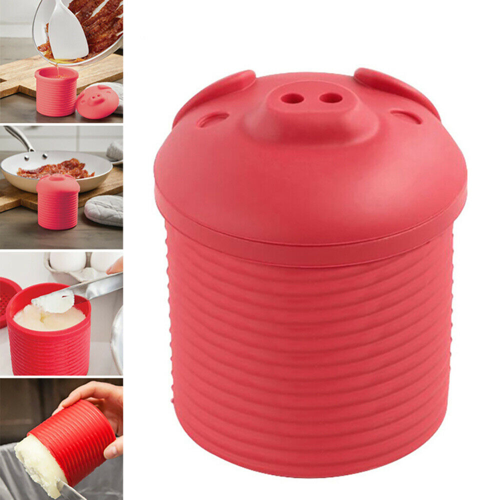 Silicone Cartoon -Pig Shaped Bacon bin Grease Strainer storage