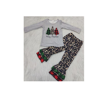 2019 Baby girls kids fashion pattern with chirsmas long sleeves matches Leopard printpants clothing outfits sets