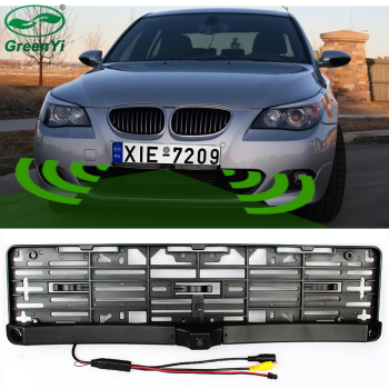 C720 HD CCD European Car License Achteruitrijcamera Vooraanzicht Camera Nummerplaat Frame Parking Camera Met Twee Parking sensoren