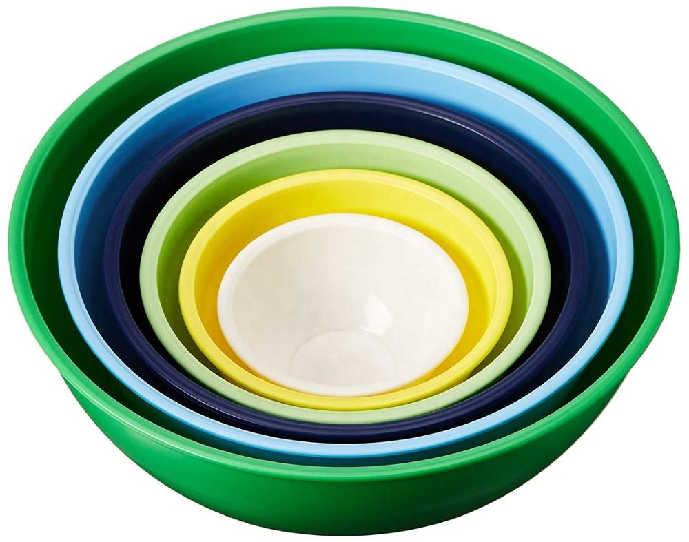 Factory price kitchen reusable small large baking cake plastic salad mixing bowl set with airtight lid 6 pieces