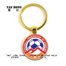 Эмблема национальной футбольной команды 25 мм, стеклянный брелок, эмблема, Футбольная команда, металлический брелок для фанатов, подарок(Китай)