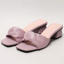 Женские Плиссированные шлепанцы Meotina, Летние повседневные сандалии на среднем квадратном каблуке, фиолетового, зеленого цветов, большие ра...(Китай)
