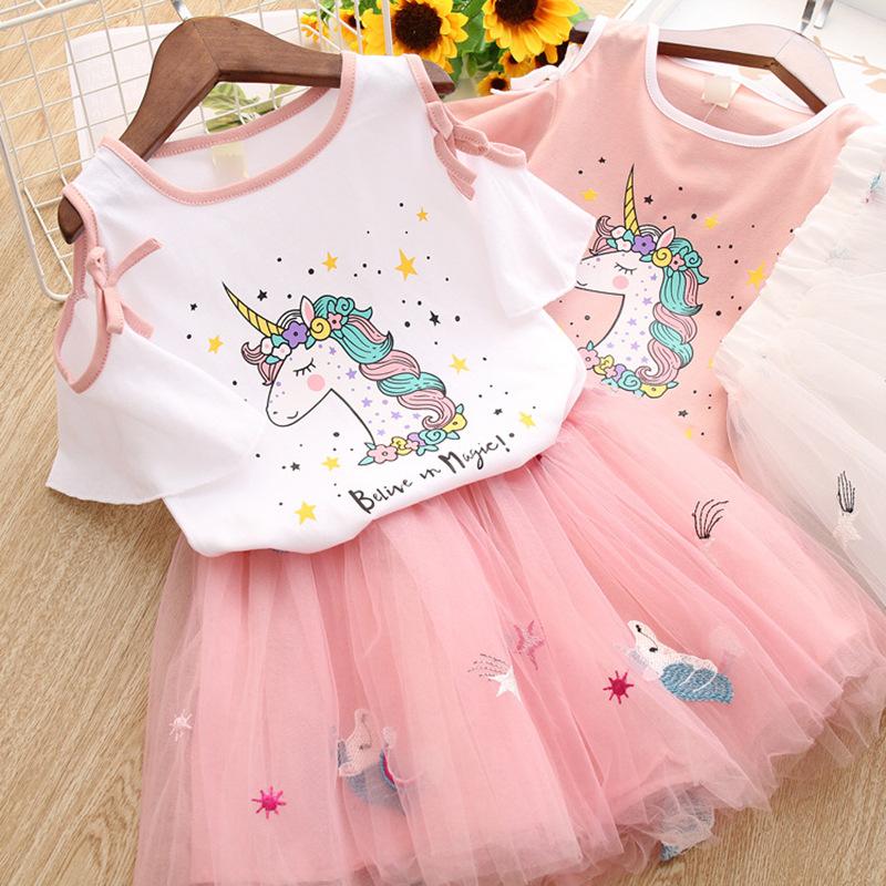 2019 最新のピンクのデザインホット販売ユニコーン秋卸売女の子ブティックアフリカ子供服セット
