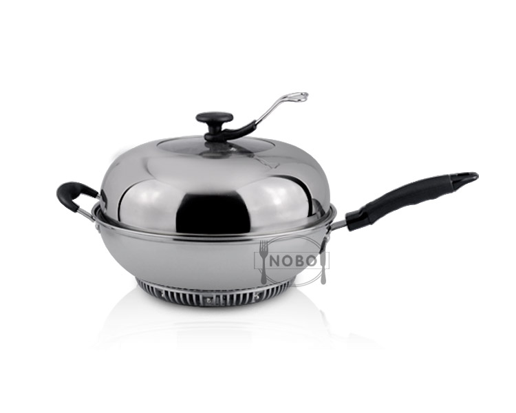 Stainless steel energy-gathered double cooking wok pan