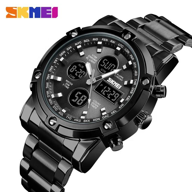 Azul del reloj SKMEI 1389 de acero inoxidable de cuarzo reloj de los hombres 50M resistente al agua de doble zona china reloj