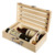 Natural Pine Wood Crate 2 Wine Bottle Travel Storage Box Carrying Display Case