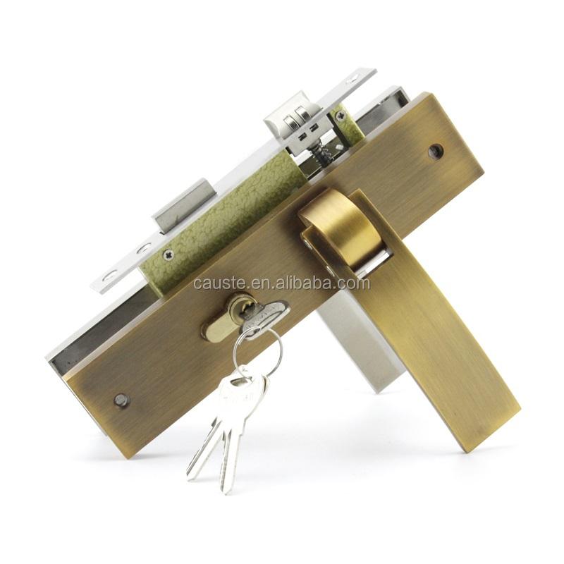 Panneau en alliage de Zinc serrure de porte avec serrure en acier inoxydable corps et cylindre en laiton