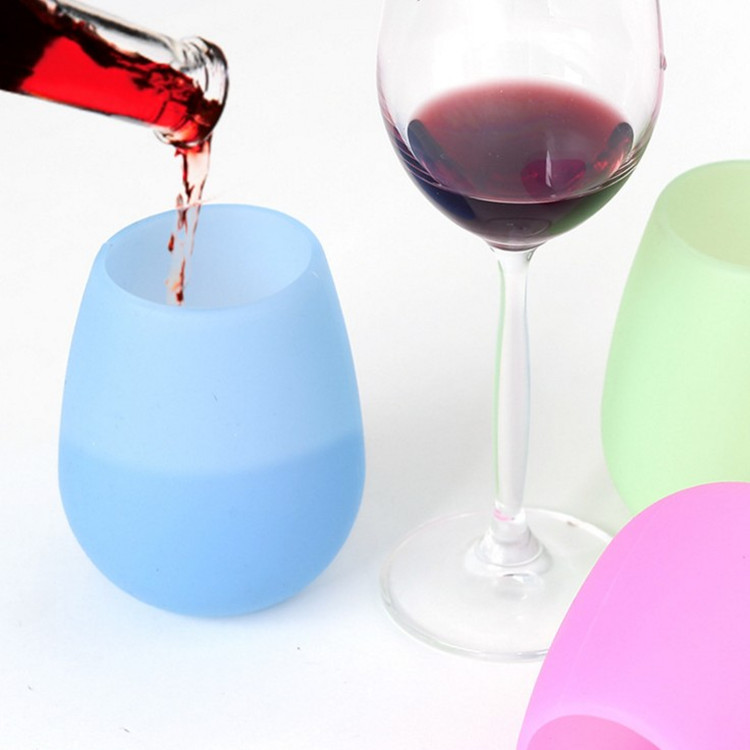12oz Eco-friendly Popular Style Colorful Silicone Wine <strong>Cup</strong> Silicone Wine Tumbler <strong>Cups</strong> with Custom Logo