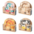 Cheapest Unbreakable cute cartoon healthy kids bamboo fiber tableware dinnerware set