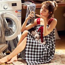 BZEL/черные ночные халаты в клетку с красным бантом, ночное платье на бретельках, Хлопковая пижама, пикантная сорочка, Пижама для женщин, M-XXL(Китай)