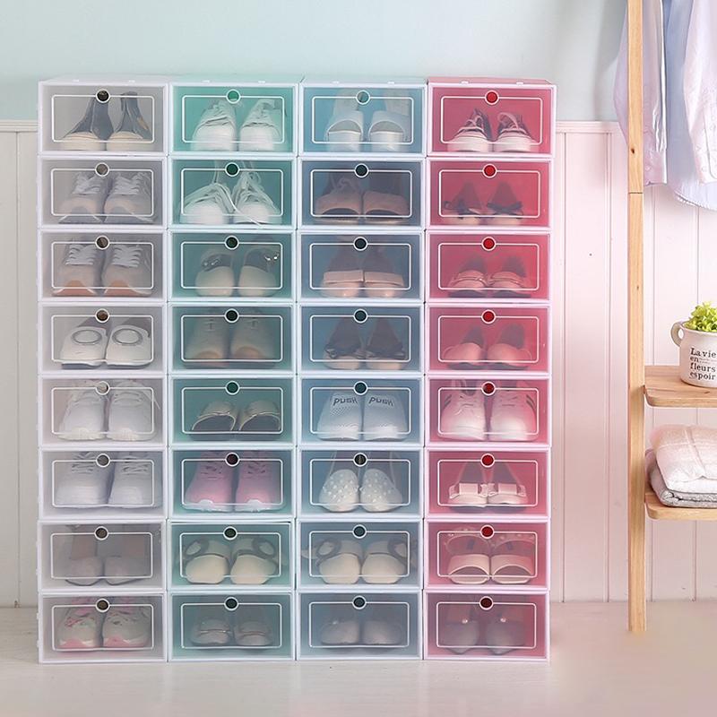 Venta al por mayor barato Simple Durable de almacenamiento claro apilable de plástico plegable de la caja de zapatos