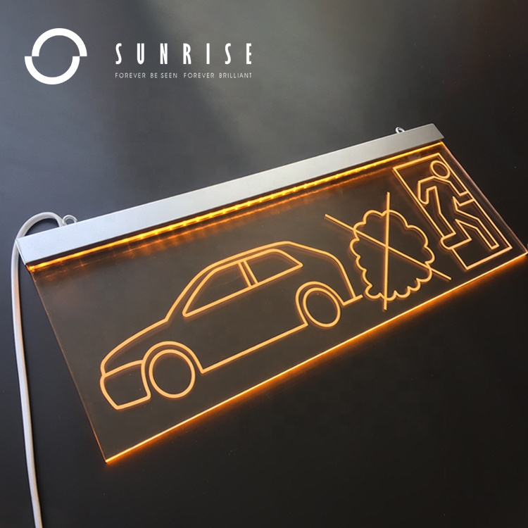 SUNRISE SIGN Manufacturer Customized Shop Acrylic Led Edge Lit Signs Board Parking Lot and Exit Acrylic light Sign Luminous