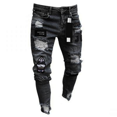 Amazon качество стрейч обтягивающие джинсы брюки Swag рваные мужские джинсы
