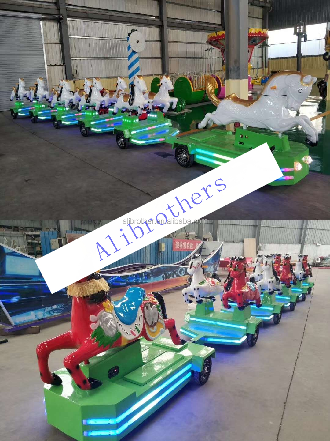 Family amusement park electric horse trackless train racing running horse rides