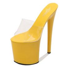 Новинка; Модные тапочки на толстой платформе; Обувь на высоком каблуке 20 см; Лакированная кожа; Очень большие размеры; Обувь для стриптиза в ...(Китай)