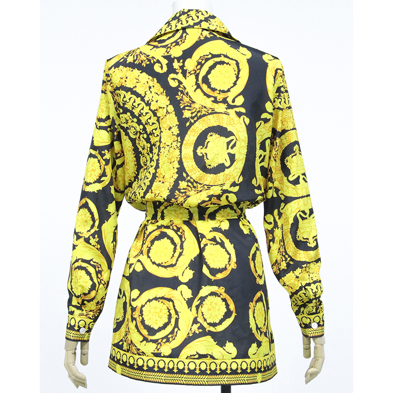 Sexy Blouses Dress Women Paisley Vintage Print Spring Shirt Casual Loose Streetwear Long Sleeve Elegant Party Club Robe