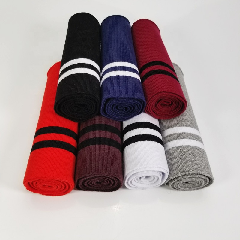 Striped Spandex Cotton knit ribbed Trim Tissue For Clothing Accessories