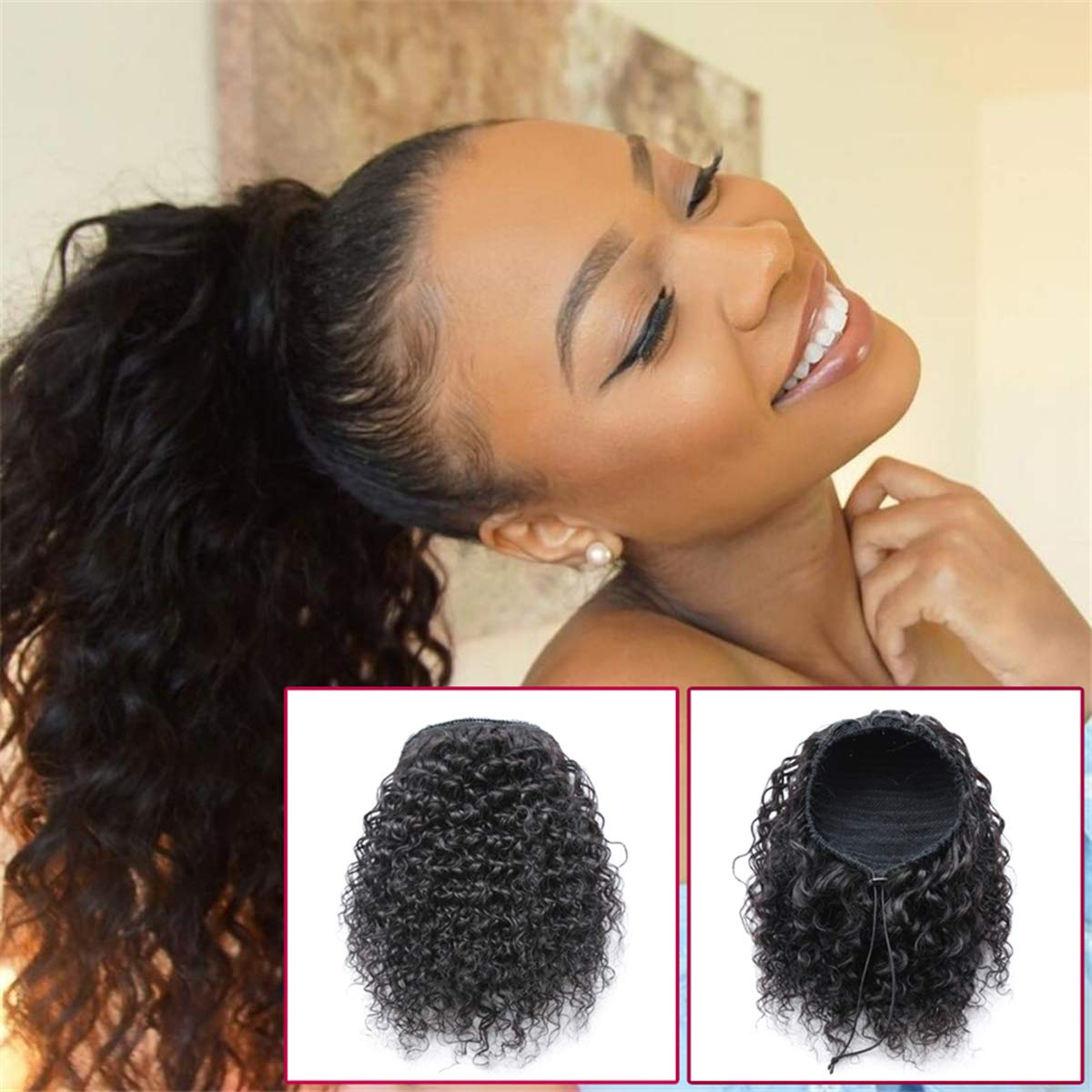 100% drawstring human raw hair virgin cuticle aligned ponytail afro curly ponytail drawstring kinky curly hair bun