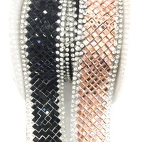 L210 2.5cm width Rhinestone Beaded Trim Iron on Applique Bling Chain Banding Belt for DIY Wedding Bridal Dress Embellishment