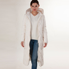 Custom brands on sale high quality plus size xxl women white long duck down coat with hood