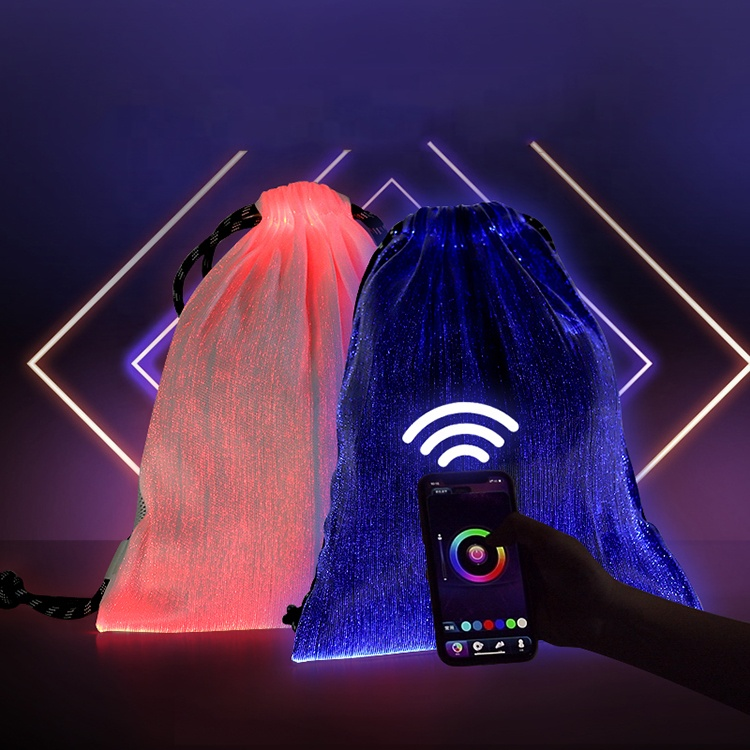 2020 New Products Outdoor Rechargeable Drawstring Bag Fiber Optic LED Light Backpack