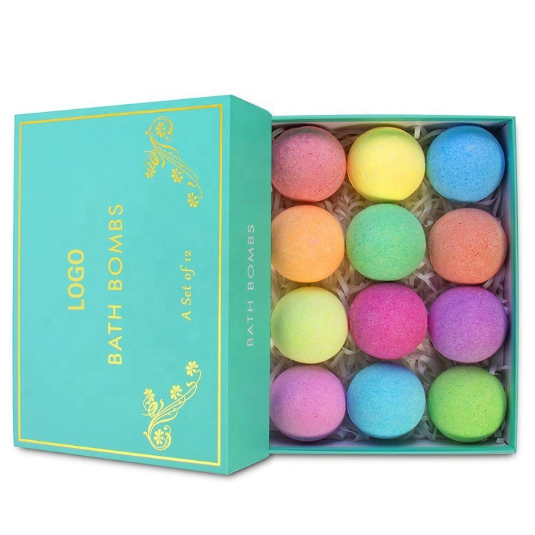 OEM Private Label Colorant Press Bubble Fizz Balls All Natural Fragrance Organic Hemp Vegan Package Bath Bombs Set