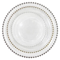 Luxury Royal Hotel Dinning Glass Tableware Belmont Gold Beaded Charger Glass Plate For Wedding
