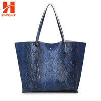 Contracted Large Women's Brands Bag Customized Serpentine Faux Leather Tote Bags