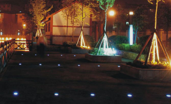 Solar LED cast aluminum buried lights diameter 80mm landscape garden lights square star lights outdoor bright
