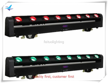 Sweeper beam led 8pcs 4in1 RGBW quad color long strip beam with strobe flash effect led moving head beam for stage