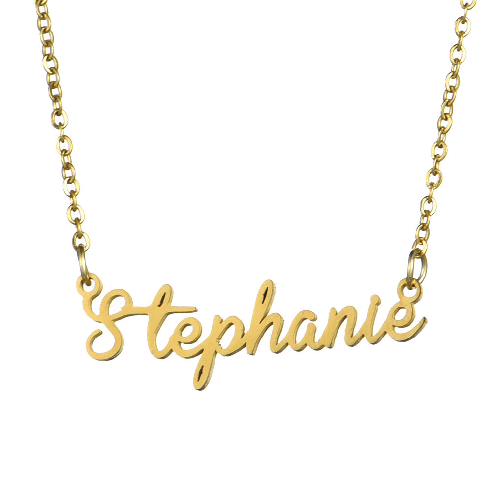 Personalized Custom Name Pendant Script Initial Words Nameplate Necklace Jewelry for Girls Women