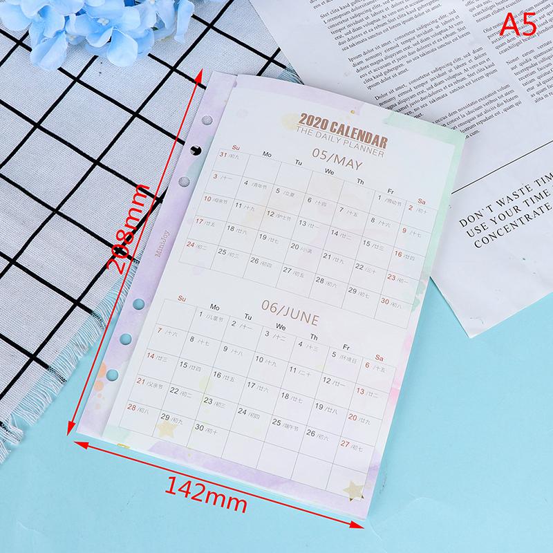 2020 A5/A6 горячая Распродажа милый мультфильм 2020 год календарь индексный разделитель для 6 отверстий дневник Биндер еженедельник записные кни...(Китай)