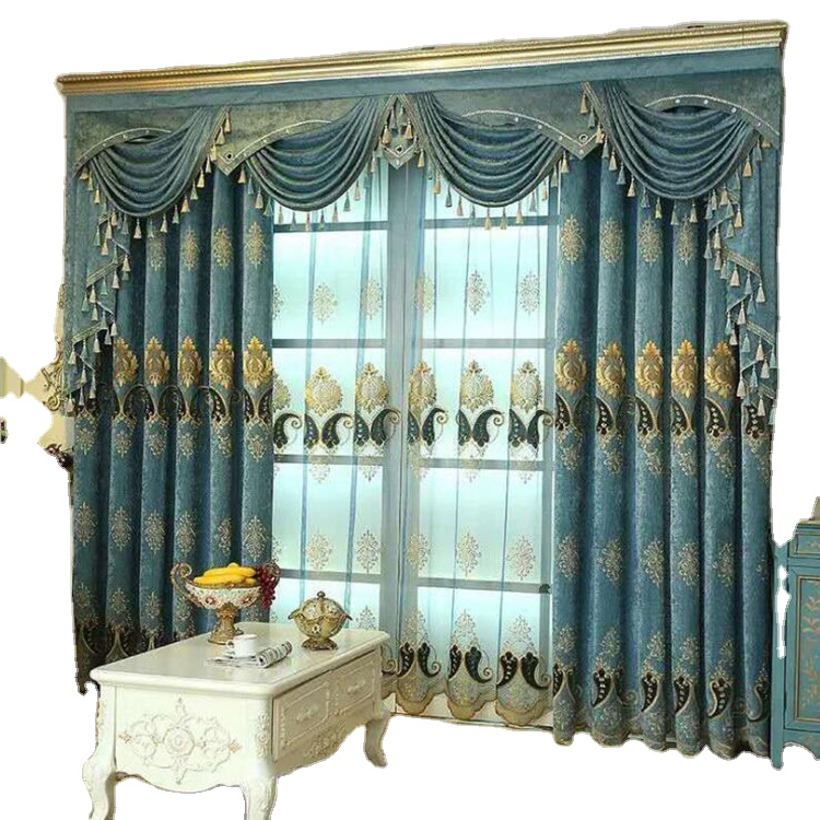 European Luxury Window Embroidered <strong>Curtains</strong> And Drapes Blackout Chenille Fabric Cortinas <strong>Curtains</strong> <strong>For</strong> The Living Room