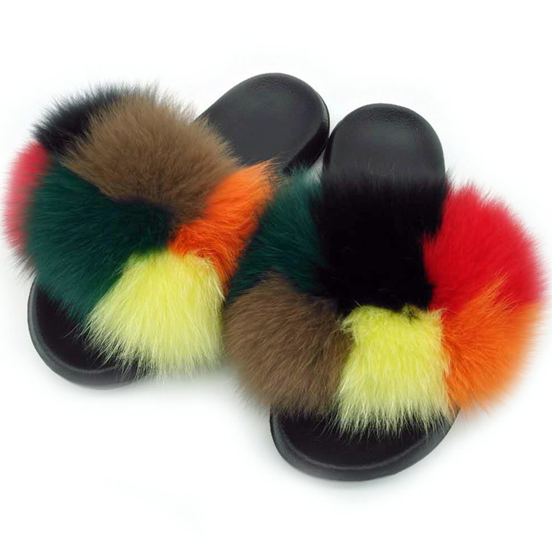 custom raccoon fox faux fur slide sandals Custom Women Fashion Fur Slides, Customized color