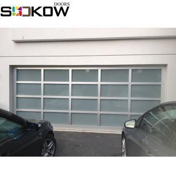 Anodized Aluminium Frame Sectional Glass Panel Garage Door