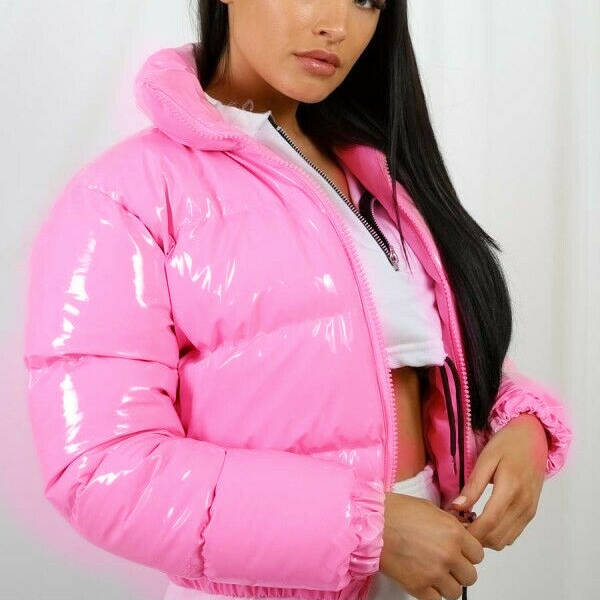 2020 New Reflective Pu Leather Puffer Quilted Down Cotton Jacket Bubble Coat For Women