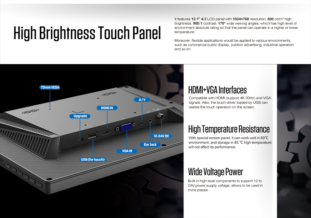 12 inch HDMI VGA input industrial monitor  high brightness capacitive touch filed panel with VESA folding bracket