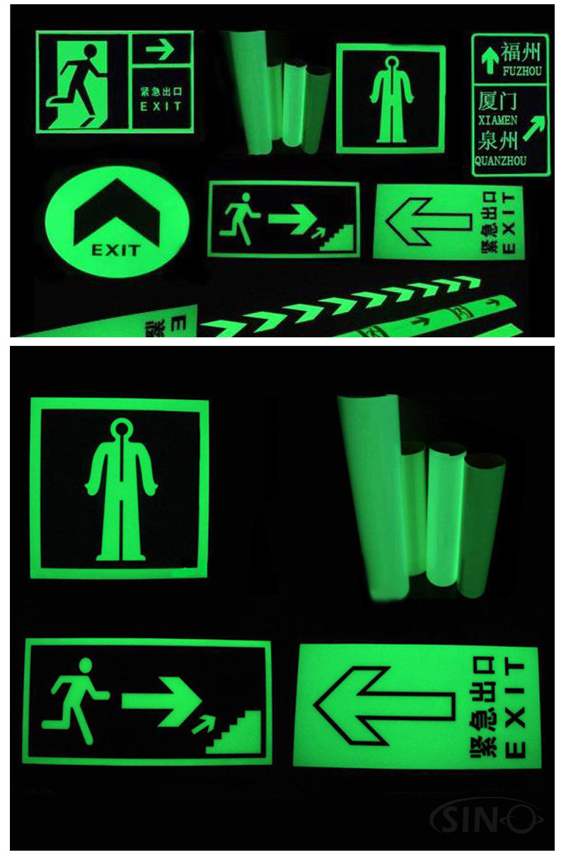 Safety Sign PET Cricut Cutting PVC Eco Solvent UV Printing Glow In The Dark Self Adhesive Vinyl Sticker Photoluminescent Film