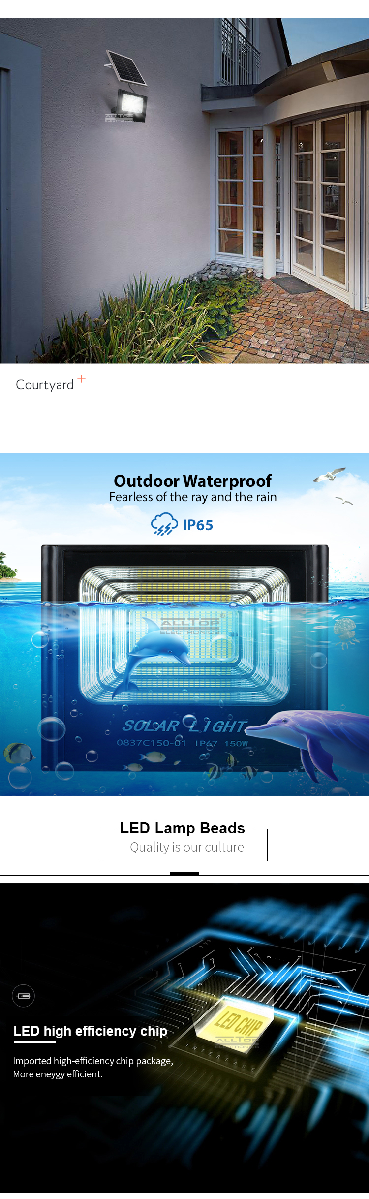 ALLTOP High quality IP65 Outdoor Waterproof Aluminum 50w 100w 150w 200w solar LED Flood Light price