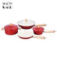 4 Piece Cooking Pot Cook Wares Ceramic Coating Non-stick Pan Kitchen Ware Set Wooden Handle Cookware Set