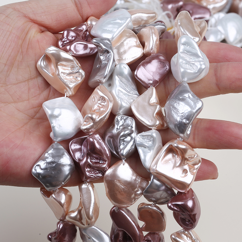 Unique Tooth shape colorful irregular shell pearl beads string