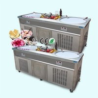 industrial double flat pan fried thai ice cream machine