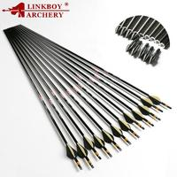 Linkboy Archery Pure Carbon Arrows Spine300-800 ID6.2mm High Quality Compound Recurve Traditional Bow Target Hunting Shooting
