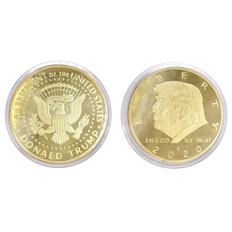 Moneda de recuerdo chapada en oro y plata del presidente de EE. UU., al por mayor, 2021, moneda de donald trump para recuerdo