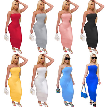 Sexy Off Shoulder Tube Dresses Summer Women Black White Basic Bodycon Sundress Strapless Stretchy Bandage Robe Femme Dress
